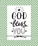 Hand lettering God Bless you. Biblical background. Christian poster. Card. Modern calligraphy royalty free illustration