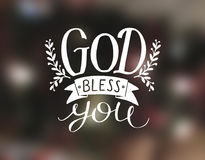 Hand lettering God bless you. Stock Photo