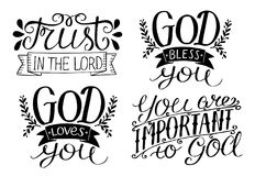 4 Hand lettering God Bless you. God loves you. Trust in the Lord. You are important to God. Royalty Free Stock Photo