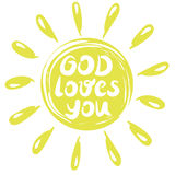 Hand lettering God loves you, made in a yellow circle with rays. Biblical background. Christian poster. Royalty Free Stock Photo