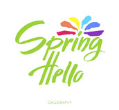 Hand Lettering Hello spring. Brush  lettering isolated on whitte background. Handwritten  Illustration. Background includes Royalty Free Stock Images