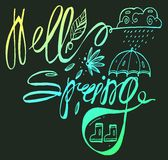 Hand Lettering Hello spring. Brush Pen lettering  on background. Handwritten vector Illustration. Royalty Free Stock Photos