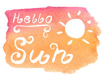 Hand lettering: Hello Sun Royalty Free Stock Photo
