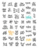 50 hand lettering inscription about autumn sale and halloween pa Stock Photography
