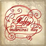 Hand lettering inscription - happy valentines day Stock Photography