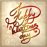 Hand lettering inscription - happy valentines day Stock Image