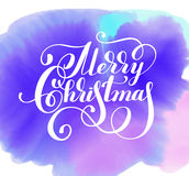 Hand lettering inscription Merry Christmas on watercolor pattern Royalty Free Stock Photo