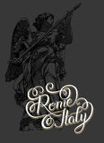 Hand lettering inscription Rome Italy - capital city typography Stock Images