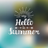 Hand lettering inspirational poster Say Hello To Summer. Vector fun quote illustration. Hand lettering inspirational poster Say Hello To Summer. Vector fun Royalty Free Stock Photography