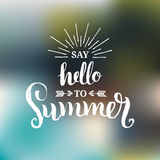 Hand lettering inspirational poster Say Hello To Summer. Vector fun quote illustration. Hand lettering inspirational poster Say Hello To Summer. Vector fun Stock Image