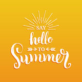 Hand lettering inspirational poster Say Hello To Summer. Vector fun quote illustration. Hand lettering inspirational poster Say Hello To Summer. Vector fun Stock Photo