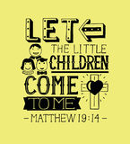 Hand lettering Let the little children come to me. Biblical background. Christian poster.Modern calligraphy. Card Royalty Free Stock Photography