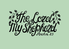 Hand lettering the Lord is my shepherd. Biblical background. Christian poster. Scripture. Psalm Stock Photo
