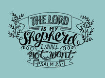 Hand lettering the Lord is my shepherd, made with leaves. Hand lettering the Lord is my shepherd, i shall not want. Psalm. Biblical background. Christian poster Royalty Free Stock Photos