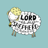 Hand lettering The Lord is my shepherd. Hand lettering made in sheep with a bell. The Lord is my shepherd. Biblical background. Psalm 23 Royalty Free Stock Image
