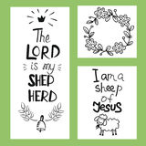 Hand lettering the Lord is my shepherd. Psalm. Biblical background. Christian poster Royalty Free Stock Images