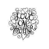 Hand lettering Love each other Stock Images