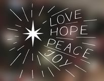 Hand lettering Love, hope, peace, joy with star. Stock Image