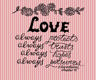 Hand lettering Love always, made next to the flower ornament. Stock Image