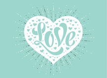 Hand lettering Love in white heart on a turquoise background for greeting card. Handmade calligraphy. Vector Illustration. Royalty Free Stock Images