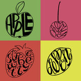 Hand lettering made inside fruits Apple, Lemon, Strawberry, cherry Royalty Free Stock Image