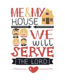 Hand lettering me and my house we will serve the Lord with family. Hand lettering me and my house we will serve the Lord. Biblical background. Christian poster Stock Photos