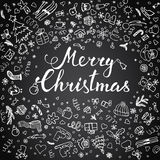 Hand-lettering Merry Christmas with  hand drawn Christmas decora Royalty Free Stock Images