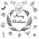 Hand-lettering Merry Christmas with  hand drawn Christmas decora Stock Image