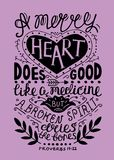 Hand lettering Merry heart does good like medicine, but a crushed spirit dries up the bones. Biblical background. Christian poster. Proverbs. Vintage Stock Photography