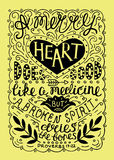 Hand lettering Merry heart does good like medicine, made in black color Royalty Free Stock Image