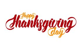 Hand lettering modern brush text of Happy Thanksgiving Day isolated on white background. Handmade calligraphy. Vector illustration: Hand lettering modern brush Royalty Free Stock Photos