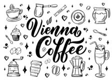 Hand lettering name of coffee with sketch for coffee shop or cafe. Hand drawn vintage typography phrase, isolated on white royalty free illustration