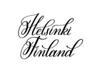 Hand lettering the name of the European capital - Helsinki Finla Royalty Free Stock Photo