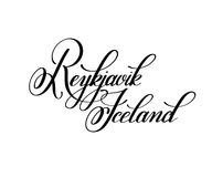 Hand lettering the name of the European capital - Reykjavik Icel Stock Photography