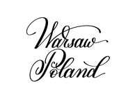 Hand lettering the name of the European capital - Warsaw Poland Stock Image