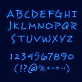 Hand Lettering Neon Style Blackboard Poster Stock Photo