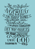 Hand lettering Not be anxious about anything, but let your requests to God. Biblical background. Christian poster royalty free illustration