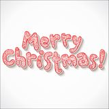 Hand lettering ornate Merry Christmas sign. On red background Royalty Free Stock Images