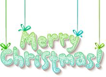 Hand lettering ornate Merry Christmas sign. On red background Royalty Free Stock Photo