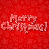 Hand lettering ornate Merry Christmas sign. On red background Stock Photo