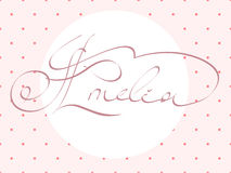Hand lettering personal name, handmade calligraphy, Stock Photos