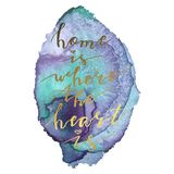 Hand lettering phrase home is where the heart is on colorful background. Handwritten text. Stock vector illustration stock photography