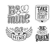Hand lettering phrase for valentines day poster Royalty Free Stock Photos