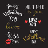 Hand Lettering Phrases on St. Valentine's Day Stock Image