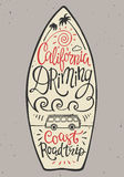 Hand lettering poster with the inscription California dreaming in the form of surfboards. Stock Image