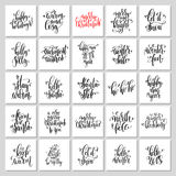 25 hand lettering poster set to christmas holiday design Stock Photo
