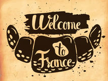 Hand lettering is a poster on the theme of travel and adventure abroad. Acquaintance with national cuisine of France Royalty Free Stock Photography