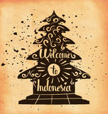 Hand lettering is a poster on the theme of travel and adventure abroad. Familiarity with the culture of Indonesia. Vector Stock Images