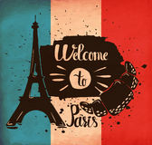 Hand lettering is a poster on the theme of travel and adventure abroad. France and attractions of Paris. Vector Stock Photos