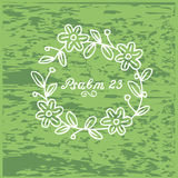 Hand lettering Psalm 23 in the wreath. Biblical background. Christian poster Stock Image